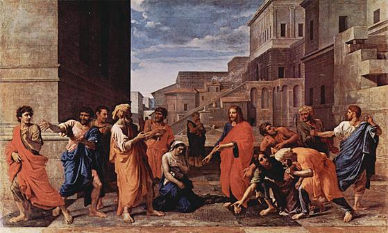 """유대인들이 간음한 여인을 돌로 쳐죽이려 하자 예수가 """"죄 없는 자 돌을 던지라""""고 말한다. [중앙포토]"""