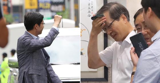 김경수(왼쪽) 경남지사의 1차 소환때 모습. 오른쪽 사진은 허익범 특별검사 [뉴스1]
