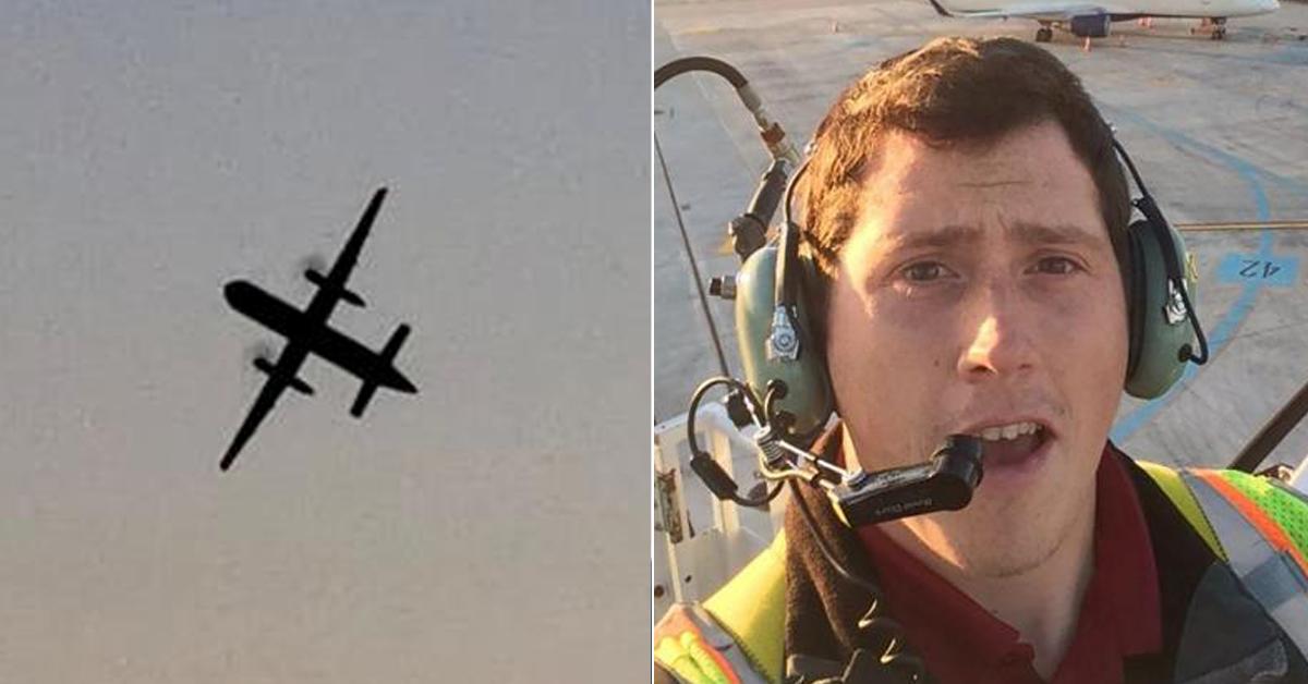 미 호라이즌에어의 지상직원 리처드 러셀(오른쪽)이 시애틀 공항에서 여객기를 훔쳐 비행하는 모습(왼쪽) [로이터, AFP=연합뉴스]
