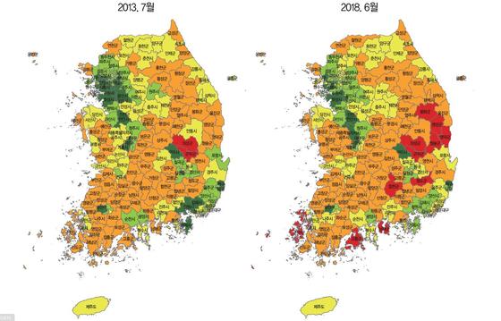 [228개 시군구별 지방소멸 위험 현황] 붉은 색일수록 소멸 고위험 지역. 푸른 색을 띌수록 지속가능한 지역 [자료=한국고용정보원]