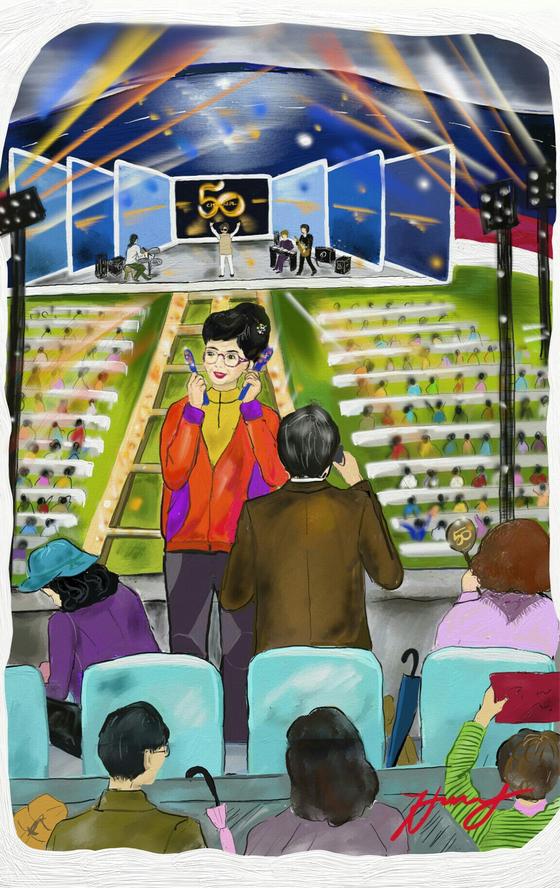 공연 내내 열정적이던 앞자리 올림머리 여인. [그림 홍미옥(by 갤럭시 노트5/ 아트레이지)]