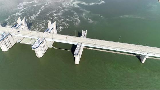 지난 12일 창녕함안보 인근 낙동강에 짙은 녹조가 발생했다. 환경부는 녹조 완화를 위해 상류 안동댐과 임하댐, 합천댐의 물 방류를 시작했다.[사진 먹는물부산시민네트워크]
