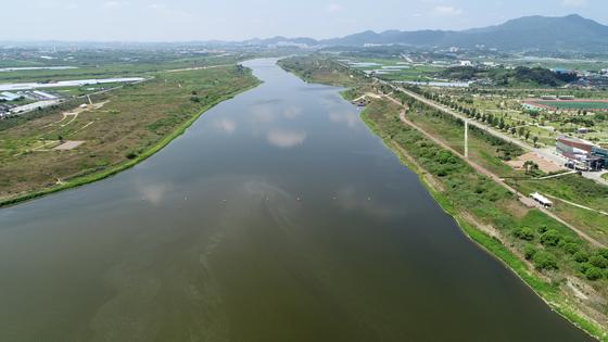 폭염이 이어진 지난달 26일 광주 남구 영산강 승촌보 인근 강물이 탁한 물빛을 보이고 있다. [연합뉴스]