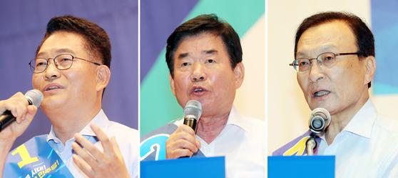 민주당 당 대표 경선에 출마한 송영길, 김진표, 이해찬 후보(기호순). [연합뉴스]