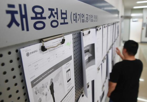 올해 상반기 체감실업률 지표가 관련 통계 작성 이후 가장 높은 것으로 나타났다. 15일 서울 시내 한 대학교의 취업게시판에서 한 대학생이 게시물을 살펴보고 있다.[연합뉴스]