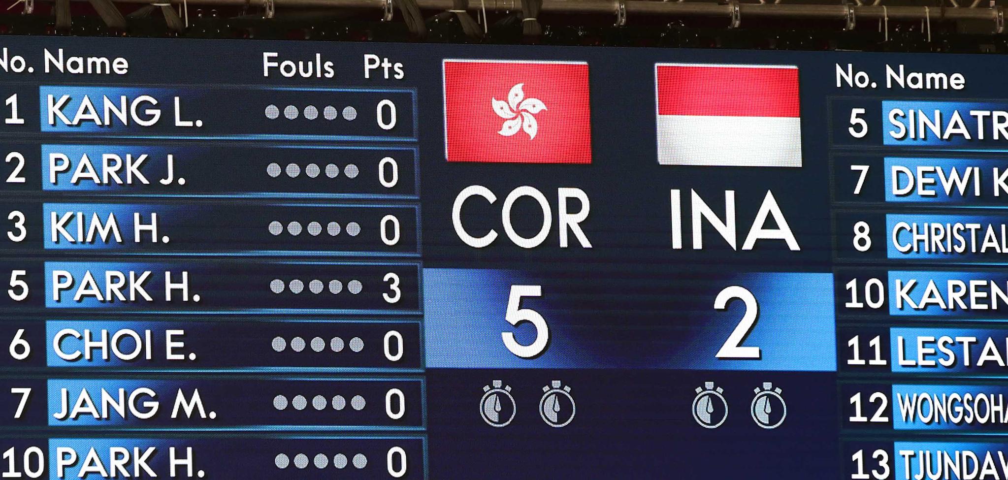15일 오후 인도네시아 자카르타 GBK 바스켓홀에서 열린 2018 자카르타-팔렘방 아시안게임 여자 농구 예선 A조 1차전에서 남북단일팀 국기에 홍콩국기가 걸려 있다. 2018.8.15./뉴스1