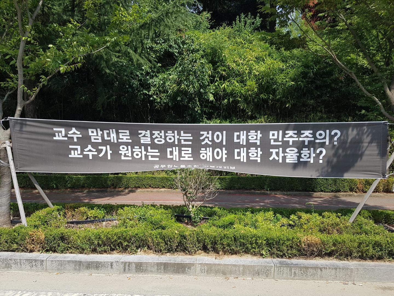 전북대 캠퍼스에 내걸린 교수회 규탄 현수막. 전주=김준희 기자