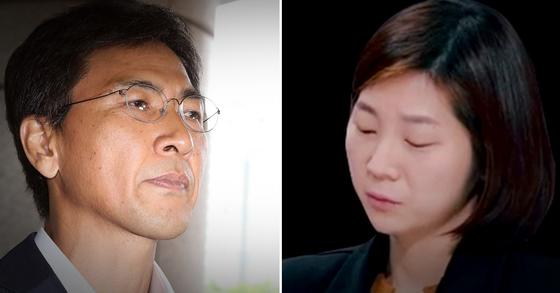 안희정(왼쪽) 전 충남지사와 피해자 김지은씨. [중앙포토]