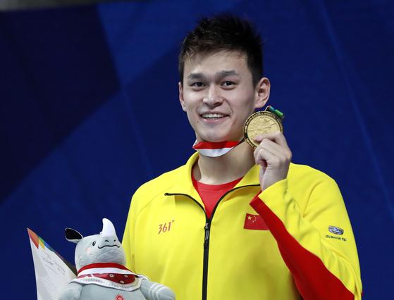 19일 열린 아시안게임 수영 남자 자유형 200m에서 우승한 중국 수영 간판 쑨양. [AP=연합뉴스]