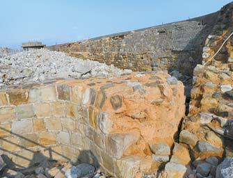 하시마 호안벽. 일본의 세계문화유산 적용 시한인 1910년 이전의 유적은 이 호안벽뿐이다.[사진 선인출판사]