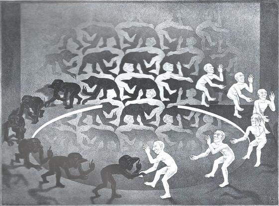 에셔는 수학적 논리를 바탕으로 한 패턴, 인간의 시지각을 주제로 평생 작품활동을 했다. '만남'(1944)