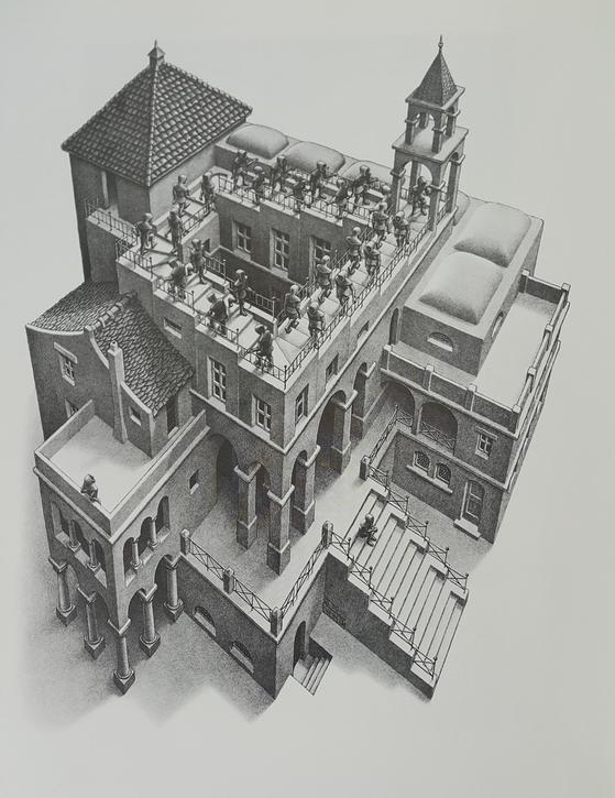 M.C. 에셔 '올라가기와 내려가기 II Ascending and descending II' 1960, 석판화