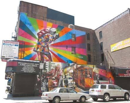 뉴욕 하이라인 철길공원에서 가장 사랑받던 벽화인 코브라의 '키스'는 작년에 갑자기 사라졌다.