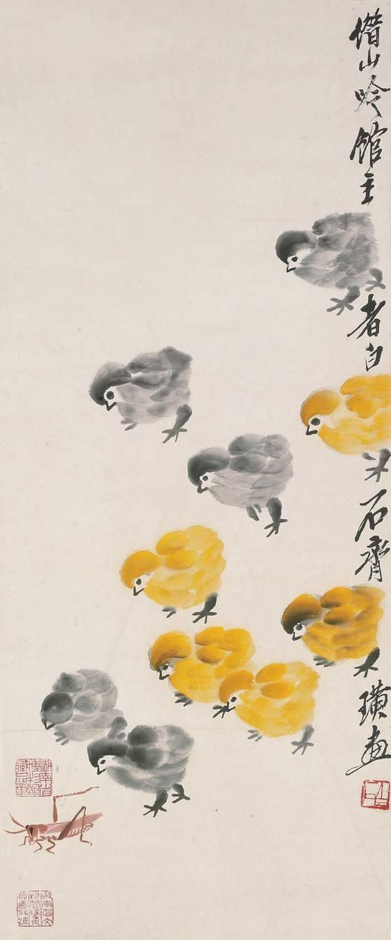 '병아리와 풀벌레'(약 1940), 78 x 33 cm, 족자, 종이에 채색