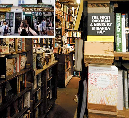 책 수집가의 어지러운 서재를 연상시키는 파리의 '셰익스피어 앤드 컴퍼니' 서점.
