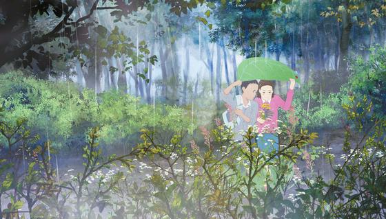 '소나기'의 주인공이 나뭇잎으로 비를 피하고 있는 모습을 형상화한 이미지 그림.