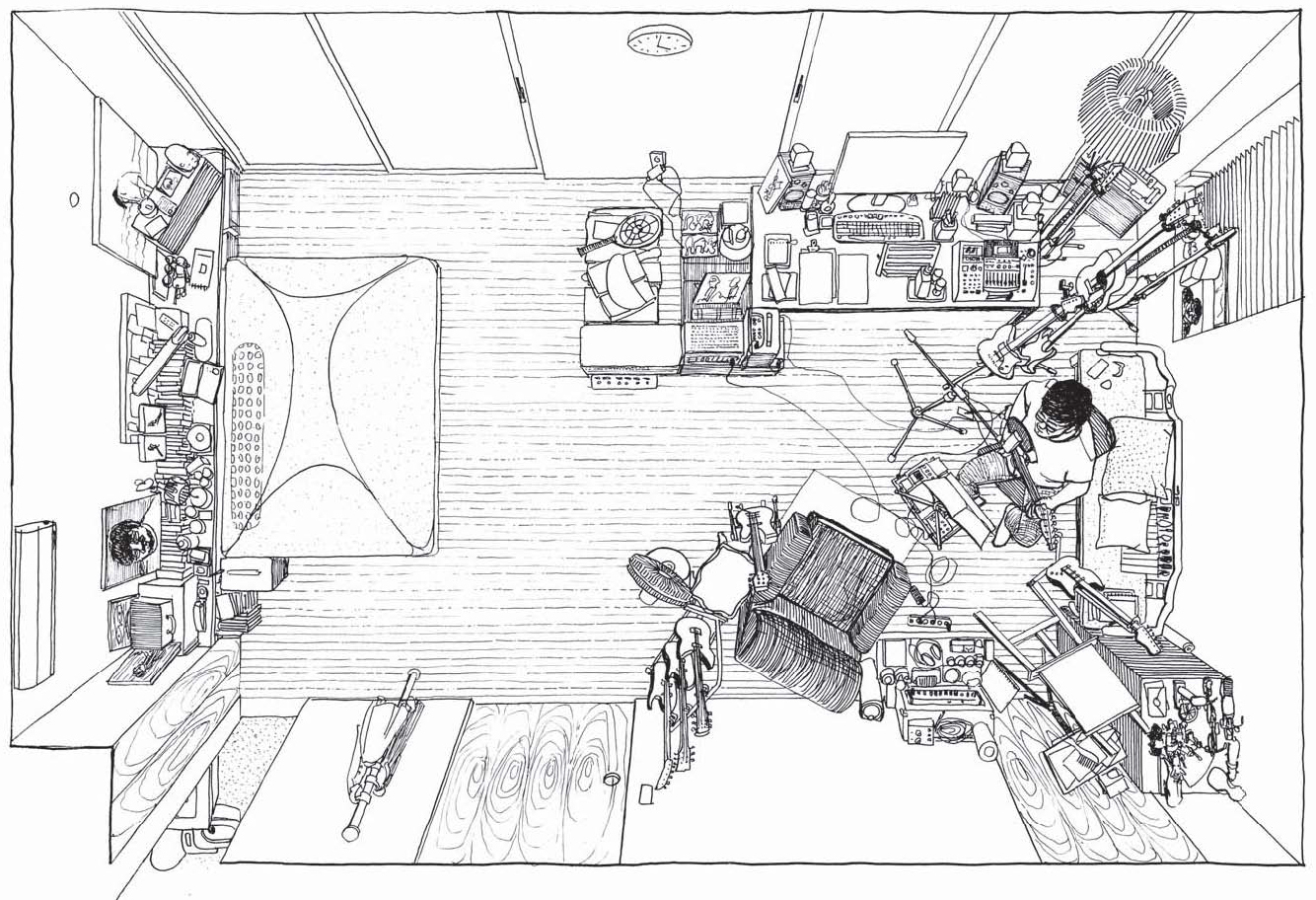 몸을 간신히 누일 만한 작은 침대 외에는 온통 기타와 음악 작업을 위한 설비로 꽉 찬 김창완씨의 방. 그는 이곳을 일러 '크레파스 같은 모순의 방'이라 했다. 작은 그림은 익살스러운 연필꽂이. 안충기 기자·화가