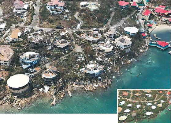 허리케인 어마가 8일(현지시간) 영국령 버진 제도를 할퀴고 지나갔다. 가옥은 무너졌고 선착장은 파괴됐다. 아래쪽 작은 사진은 허리케인 북상 전의 모습이다. [AP=연합뉴스, 구글맵]