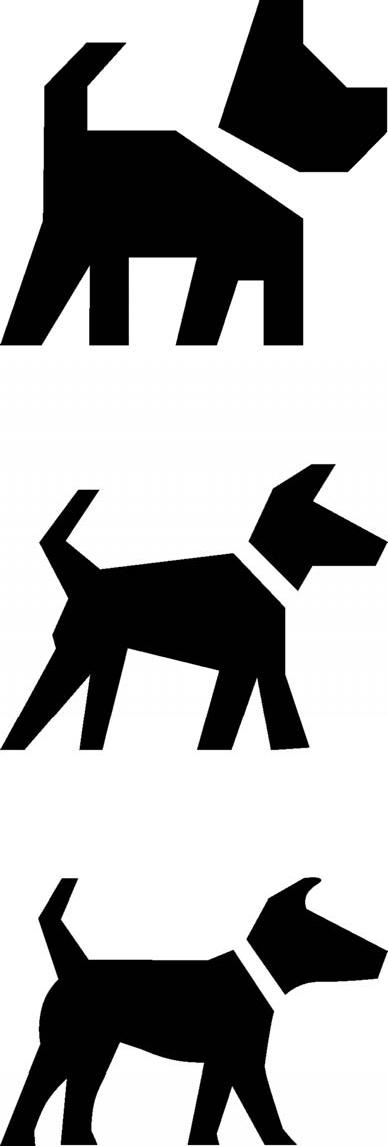 그림1. '크기에 따라 시각 보정한 폰트'의 강아지 아이콘. 위로부터 각각 작은 크기, 중간 크기, 큰 크기에 최적화한 모양이다.