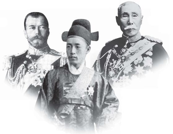 아관망명 이후 3개월여가 지난 1896년 5~6월 러시아는 '외교 전쟁'으로 뜨거웠다. 니콜라이 2세(왼쪽 사진) 대관식에 참석하기 위해 전 세계 특사들이 한자리에 모였다. 고종의 특사인 민영환(가운데 사진)과 일본의 야마가타 아리토모 육군대신도 참석해 러시아 외상 로바노프와 각기 비밀협상을 진행하며 '로바노프·야마가타 협정'과 '민영환·로바노프 각서'를 체결했다. [중앙포토]