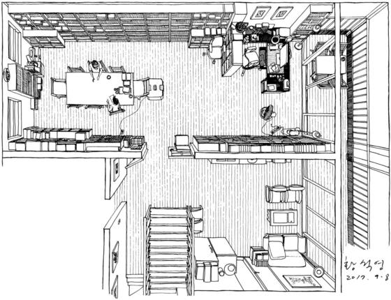 양옥의 2층 방 두 개를 터 만든 황석영 작가의 집필실. 그림 왼쪽은 서가와 손님 맞이 공간이고 오른쪽에는 컴퓨터와 각종 자료가 정리된 글 쓰는 책상이 놓였다. 안충기 기자-화가