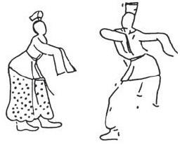 4세기께 고구려 무용총(舞踊塚)의 벽화. 장보(章甫) 혹은 책관(??冠)을 쓰고 춤을 추는 모습. 은(殷)나라와 고구려는 밀접한 종족이었다.