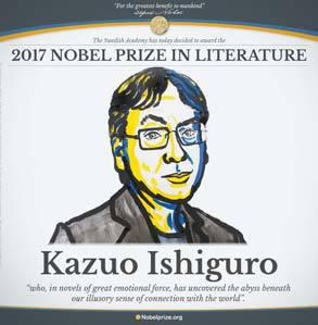 가즈오 이시구로의 노벨 문학상 수상을 알리는 노벨상 웹사이트. [연합뉴스]