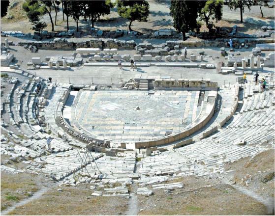 고대 그리스 아테네의 디오니소스 극장. 일반 국민도 무대에 서서 시선 집중을 받을 수 있는 공간이었다. [중앙포토]