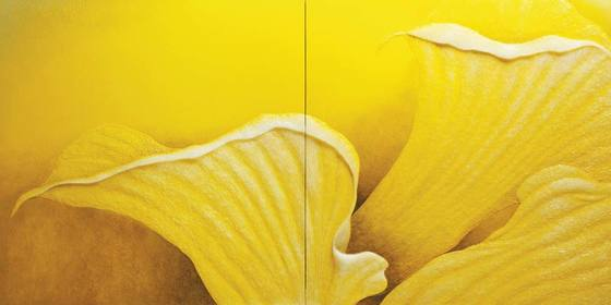 'The Silver Wave-yellow flower 2015-1'(2015), resin, acrylic on board, 170x85cm