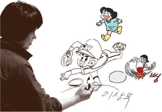 지난해 타계한 이상무 화백이 젊은 시절 한 어린이날 행사에 참여해 '독고 탁'을 그리는 모습. 오른쪽 컬러 이미지는 그가 그렸던 추억의 캐릭터를 활용해 최근 새롭게 개발 중인 이모티콘.