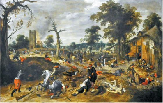 네덜란드의 화가 세바스티안 브랑스의 '보머험(벨기에 지역)에서의 약탈'(1625~1630). 30년 전쟁은 용병들로 치러진 전쟁이었다. 전쟁이 장기화되면서 용병들에게 적절한 임금이 전달되지 못했을 때, 용병들의 약탈은 상황을 더욱 악화시켰다.