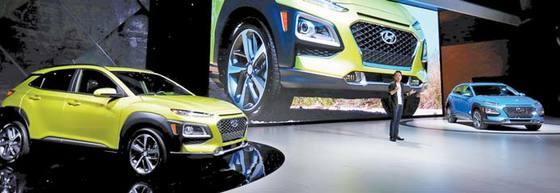 지난달 29일 'LA 오토쇼'를 통해 미주 시장에 공개된 소형 SUV 코나. [LA 로이터=연합뉴스]