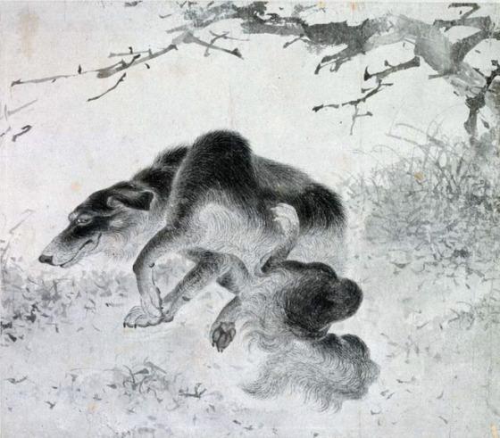 김두량의 '긁적이는 검둥개(黑狗圖)' 18세기, 종이에 먹, 23×26.3㎝