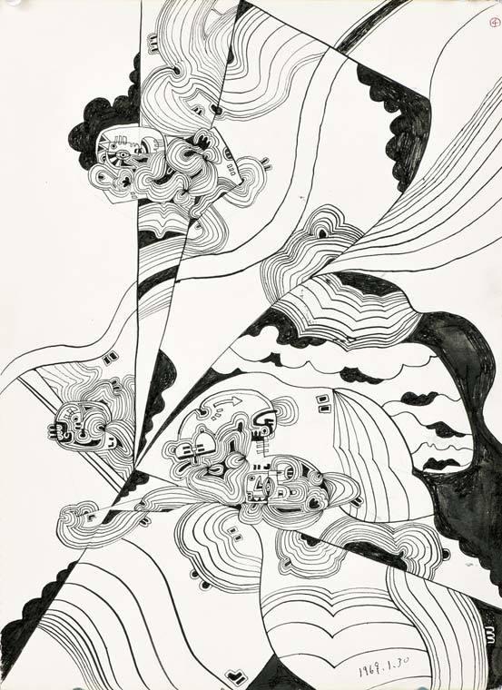 소묘 No. 53(1969), 종이에 잉크, 33 x 25cm