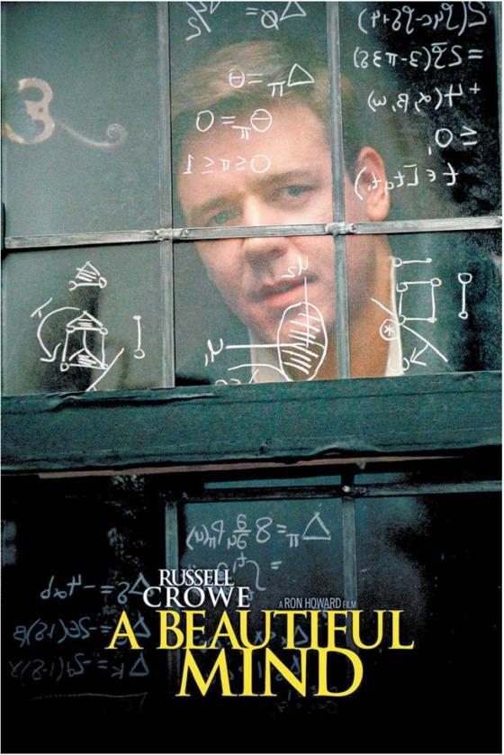 2001년 영화로 만들어진 론 하워드 감독, 러셀 크로 주연의 '뷰티풀 마인드' 포스터.
