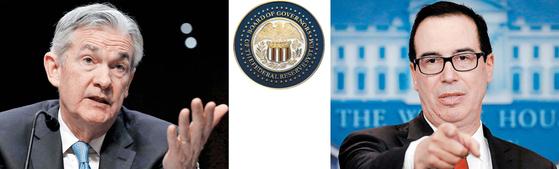 """제롬 파월(왼쪽)이 이번주 미국 연방준비제도(Fed) 의장에 취임한다. 그의 취임에 맞춰 달러 가치가 요동하고 있다. 스티븐 므누신 재무장관(오른쪽)은 지난주 '달러 가치 하락이 미국에 이롭다""""고 말해 달러 가치의 혼란을 더욱 부추겼다. [중앙포토]"""