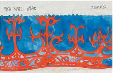 고구려 불꽃뚫음무늬 금동관, 19×26㎝, 종이에 수채 및 콜라주, 2018.