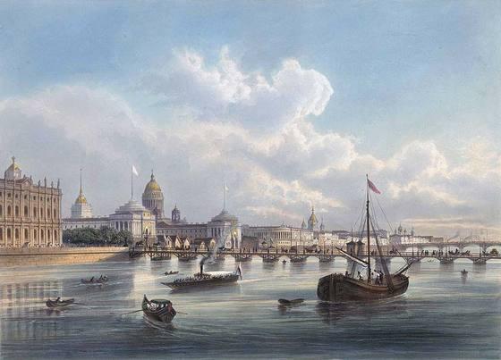 이오시프 샤를레만의 석판화 '상트페테르부르크의 궁전 다리'(1852~1862)