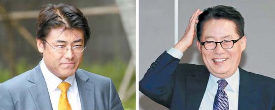 박근혜 전 대통령에 관한 의혹을 제기했다가 기소돼 결국 무죄 판결을 받은 가토 다쓰야 전 산케이신문 서울 지국장(왼쪽)과 박지원 국민의당 의원. [중앙포토]