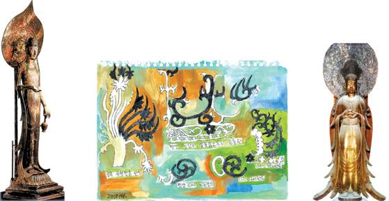 일본 나라 호류지에 있는 백제관음 보관(왼쪽)을 평양 청암리서 출토된 불꽃뚫음무늬 고구려 금동관 및 공주 무령왕릉 관식과 비교했다. 구세관음의 보관(오른쪽)은 평양 진파리의 연화문 고구려 금동장식과 비교했다. 19×26㎝, 종이에 연필과 펜, 수채, 2018.