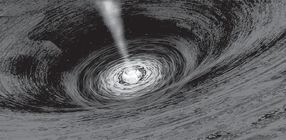 블랙홀 상상도. 스티븐 호킹 박사는 블랙홀이 증발할 때 정보를 어디에 남기는지를 알아내지 못한 채 지난 14일 타계했다. [AFP=연합뉴스]