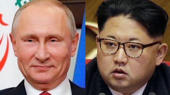 블라디미르 푸틴 러시아 대통령(왼쪽)과 김정은 북한 노동당 위원장. [중앙포토]