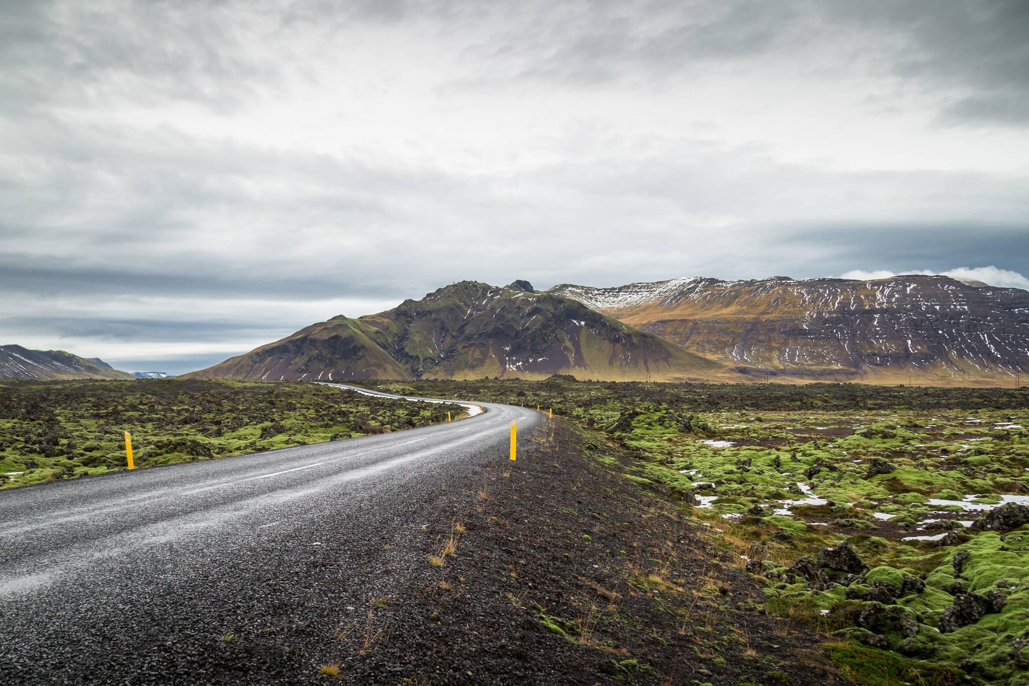 스티키쉬홀므르에서 그륀다르피오르뒤르로 향하는 길. 이끼로 덮인 현무암 지대와 웅장한 산맥의 모습이 신비로움을 더한다.