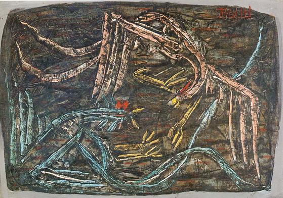 이중섭의 '투계'(1955), 국립현대미술관 소장