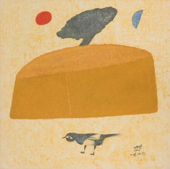 장욱진의 '집과 까치'(1986), 캔버스에 유채, 33.5x33.5cm