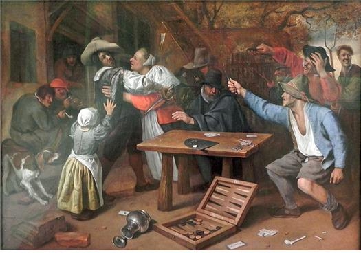 네덜란드 화가 얀 스테인의 '카드 게임 중의 다툼'(1664~65). 결투로 번지던 일이 많았던 도박 판돈 분배 문제는 경우의 수를 논의하게 된 계기가 됐다.