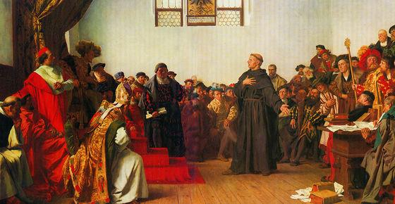 독일 화가 안톤 폰 베르너(1843~1915)가 그린 보름스 제국회의 장면. 1521년 독일 황제는 마틴 루터를 처형하기 위해 보름스 제국회의를 소집했고, 마틴 루터는 회의에서 종교개혁 의지를 굽히지 않았다. [사진 위키피디아]