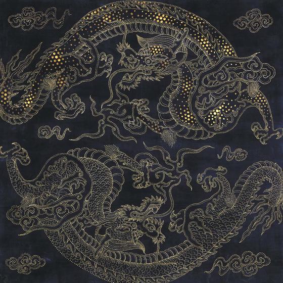 '쌍용 반자'(2018?부분), 천 바탕에 채색 금니, 220 x 316 cm