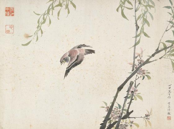 안중식의 '도류춘작(桃柳春雀·복숭아나무와 버드나무의 봄 참새)?, 지본담채, 31.2 x 41.8 cm