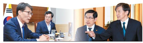 김동연 경제부총리(오른쪽)와 장하성 청와대 정책실장이 지난해 6월 열린 현안간담회에서 의견을 나누고 있다(사진 왼쪽). [뉴시스], 조국 청와대 민정수석(오른쪽)과 박상기 법무부 장관이 지난 4월 열린 반부패정책협의회에 참석해 얘기를 나누고 있다(오른쪽). [연합뉴스] [그래픽=박춘환 기자 park.choonhwan@joongang.co.kr]